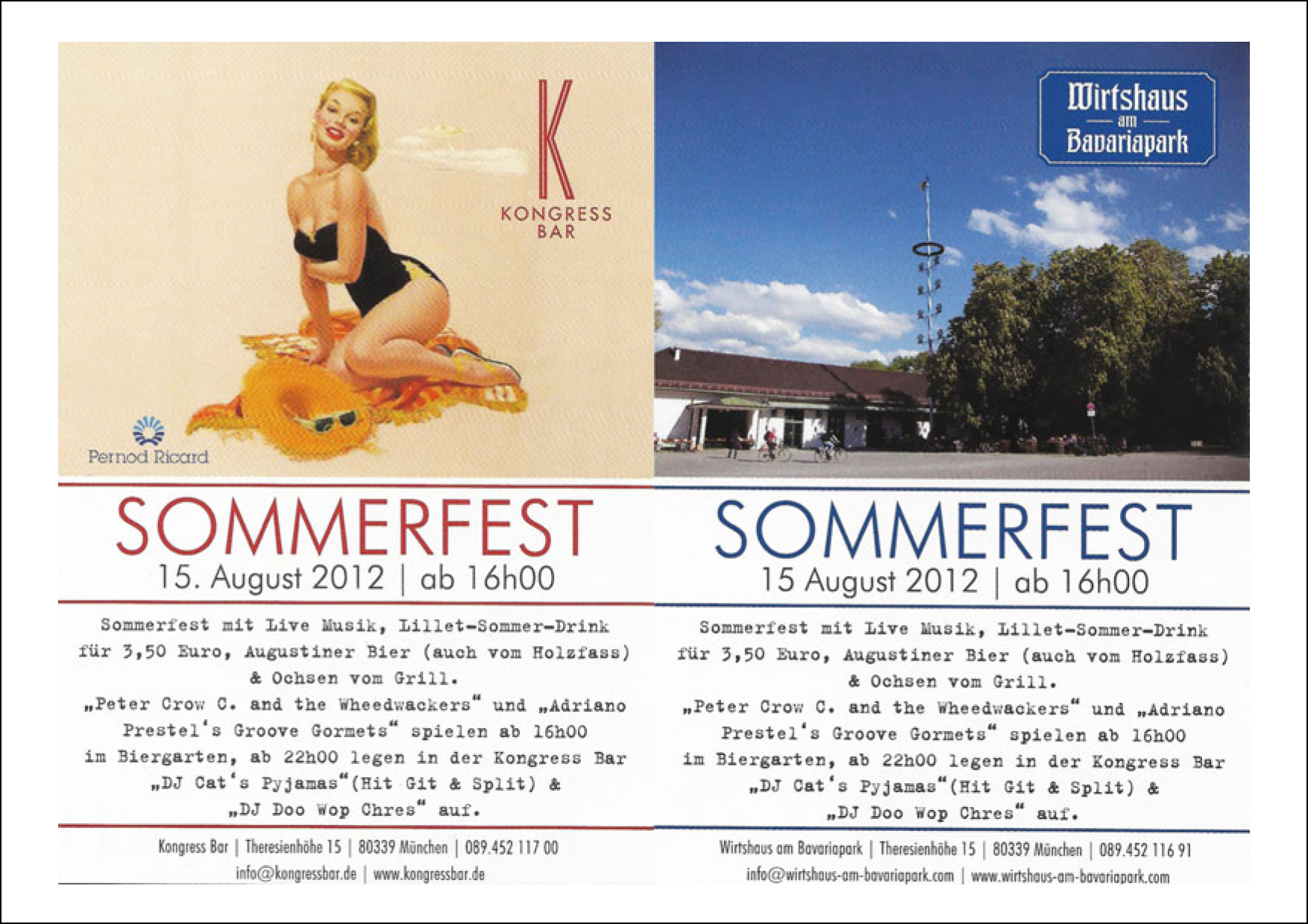 Summer fest Kongress Bar and Wirtshaus am Bavariapark 2012 Munich Flyer